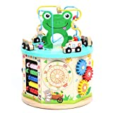 Lavievert Activity Play Cube 10-in-1 Bead Maze Multipurpose Educational Toy Wooden Learning Game