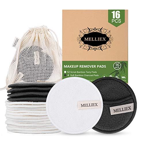 16pcs Tampons Démaquillants Lavables en Bambou Disques Coton Demaquillant de Visage avec Sac à Lessive