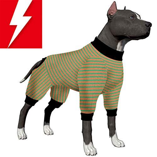 LovinPet Hundepyjama/Schlafanzug für große Hunde, Baumwolle, gestreift, 4 Beine, für große Hunde, Pitbull-Shirt, Bulldoggen-Schlafanzug, Boxer-Pyjamas, Doberman-PJS, Medium