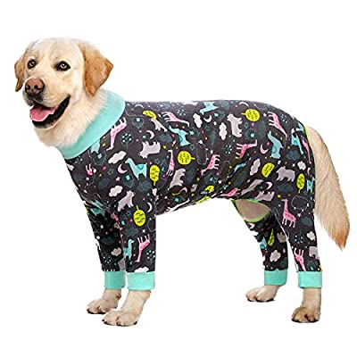 Dog Clothes,Lovely Elastic Dog Pajamas Sleeping Clothes Anti-hair Dust-proof Four-legged Garment Jumpsuit Clothes for Medium Dogs Large Dogs (32, Grey)