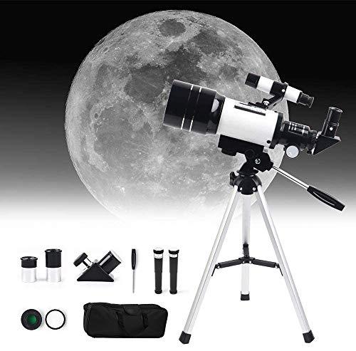 SEAAN Teleskop für Anfänger 150X ~ 15X, 70mm HD Fernrohr Teleskop für Astronomie Erwachsene, Starter Scope mit Stativ, Telefonhalter, Finder Scope, Mondfilter, Reiserucksack
