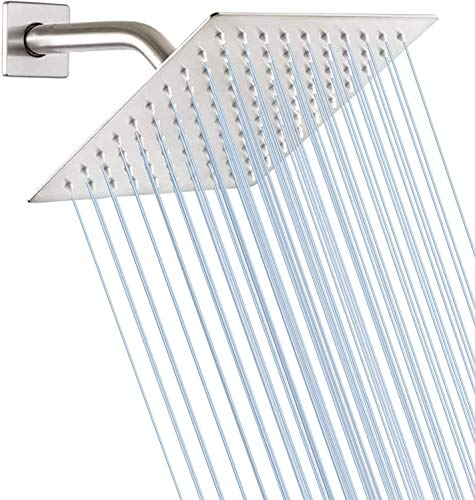 Rainfall Shower Head Yifinessyi 8 Inch Square Stainless Steel Shower Heads Brushed Nickel Shower Ultra Thin Design Rain Bath Shower