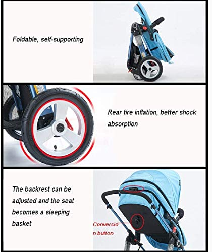 LAMTON Baby Pushchair, Buggy, Pushchairs Baby Stroller with Reversible Bassinet Compact Pushchair Suitable for Children 0-3 Years Old,80x100cm (Color : Blue) LAMTON The adjustable 5-point safety harness has comfortable shoulder pads, The sturdy frame has a wider seat which results in a more comfortable ride for your child The stroller can be easily folded, smaller and more portable; the adjustable backrest angle can be seated or lying down, as well as a large shopping basket and caster ★Carbon steel frame, sturdy, lightweight, durable, easy to store and travel 5