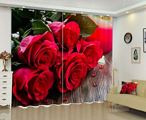 S-vision Vorhänge 3D 2 Panel Eyelet Ring Top Anti-UV Thermal Blackout Print Weihnachts-Persönlichkeit Vorhänge, Einschließlich Haken Und Römische Ringe - 5 Tische Mit Rosen,W203cmH213cm