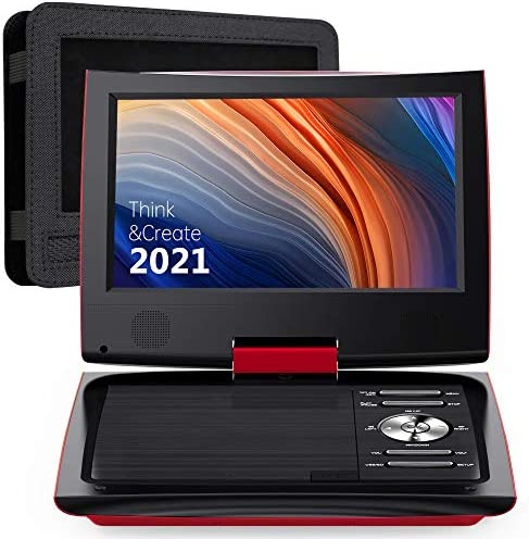 SUNPIN 11 Portable DVD Player for Car and Kids with 9 5 inch HD Swivel Screen 5 Hour Rechargeable product image