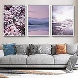 Flor púrpura Puesta de sol Naturaleza Paisaje Pintura de la lona Carteles e impresiones nórdicos Imágenes artísticas de pared Decoración de la habitación del hogar 50x80cmx3pcs Sin marco