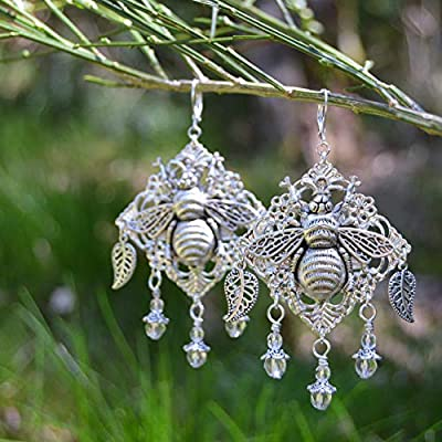 Boucles d'oreilles abeilles pendantes grandes avec motif bourdon et feuilles - bijoux jardin - mode hippie bohémien - bijoux été