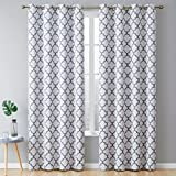 HLC.ME Lattice Print Thermal Insulated Blackout Energy Savings Heat Blocking Room Darkening Grommet Window Curtains Draperies for Bedroom and Living Room, Platinum White & Grey, 52 W x 84 L, 2 Panels