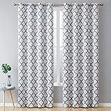 HLC.ME - Par de cortinas con aislamiento térmico, con ojales cromados, 160 cm de largo, Medidas de largo: 160 cm, 213 cm, 244 cm, 274 cm., Moderno, Platinum White & Grey, 52 W x 84 L, 1