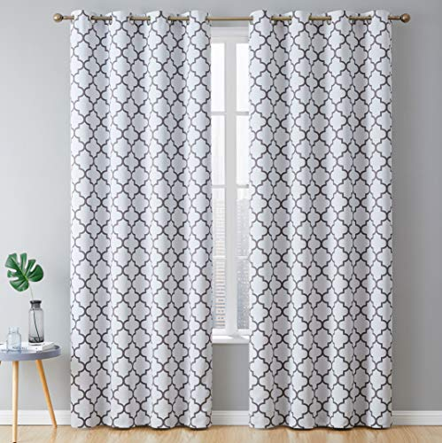 "HLC.ME Lattice Print Thermal Insulated Room Darkening Blackout Window Curtains for Bedroom - Platinum White & Grey - 52"" W x 84"" L - Pair"