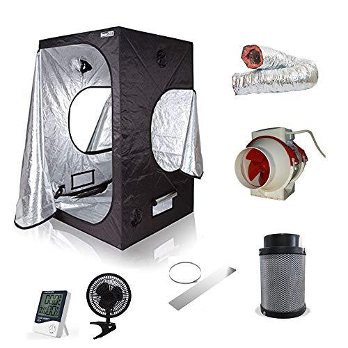 Nice Grow Box Set Zelt mit Abluft Growbox Growzelt 100cm 280cbm/h Rohrventilator Filter
