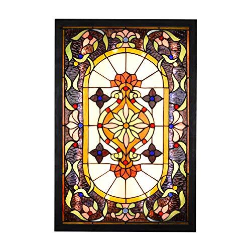 YWX Tiffany Stil Wandleuchte Deckenleuchte Glyzinien Blumen Muster Buntglas Handgemacht,36W LED Lampe 3000K 3500LM Wandleuchte Innen für Flur Wohnzimmer Schlafzimmer