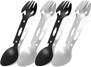 Herqw61 4 Pcs Spork Spoon Fork Outdoor Multi-Tool Utensil, Stainless Steel Camping Travel Cutlery Ultimate Kit for Knife B...