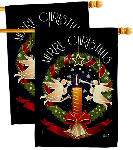 Christmas Angel Wreath House Flags 2 pcs Pack Winter Santa Marry Xmas Present Reindeer Season Wintertime Snow Small Decorative Gift Yard Banner Double-Sided Made in USA 28 X 40