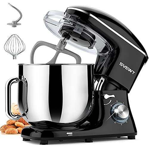 SVEWT Stand Mixer, 660W 6+1 Speeds Tilt-Head Food Mixer, Kitchen Electric Mixers with 8.5-QT Stainless Steel Mixing Bowl, Dough Hook, Wire Whisk, and Beater Attachments for Most Home Cooks