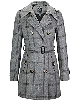 Wantdo Women s Mid-Long Slim Shaping Double Breasted Pea Coat with Belt Plaid L