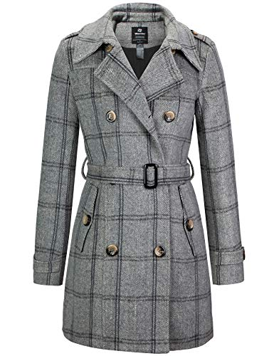 Wantdo Women's Solid Color Double Breasted Pea Coat Overcoat with Belt Plaid S