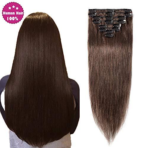 SEGO Extensions Cheveux Naturel Clip Rajout Froid Meche Humain - 35 CM 04#Marron Chocolat - [Mini Volume] Lisse Raide 100% Human Hair