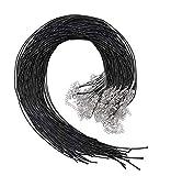 Selizo - Cable para collar (50 unidades, algodón encerado, para hacer collares y pulseras), color negro
