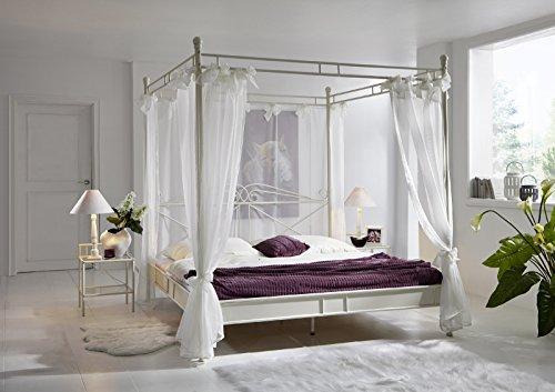 Junado Himmelbett Venezia Metallbett 180x200 cm, inklusive Stoffhimmel, Verspieltes Design, Creme-Weiß, Doppel