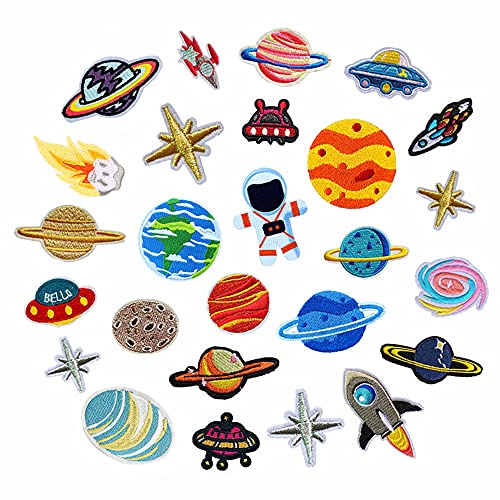 Patchs thermocollants, 26 pièces de patch planètes astronautes, patchs à appliquer sur les vêtements, chapeaux, sacs à dos, écharpes,chaussures,pour décorer et réparer les trous cassés