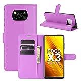 Fertuo Hülle für Poco X3 Pro / X3 NFC, Handyhülle Leder Flip Hülle Tasche mit Standfunktion, Kartenfach, Magnetschnalle, Silikon Bumper Schutzhülle Cover für Xiaomi Poco X3 NFC Smartphone, Lila