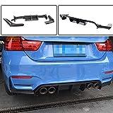 YAOXUAN Difusor Trasero de Coche, Apto para BMW 3 Series F80 M3 sedán 4 Series F82 F83 M4 Coupe Convertible 2014-2019 3PCS / Set Fibra de Carbono Parachoques Trasero CF difusor Spoiler Labio