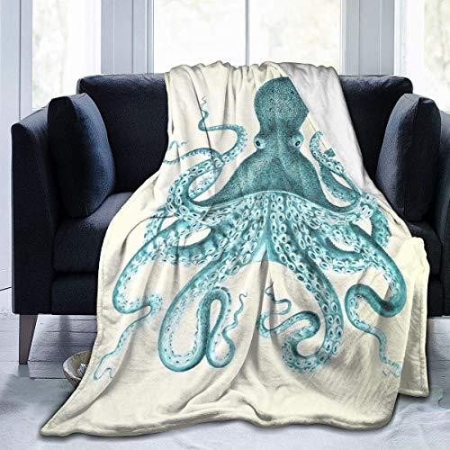 Popcorn In Spring Octopus extra weiche Decke Fuzzy Shaggy Decke Flauschige gemütliche Plüsch Bequeme Mikrofaserdecke für Couch Schlafsofa