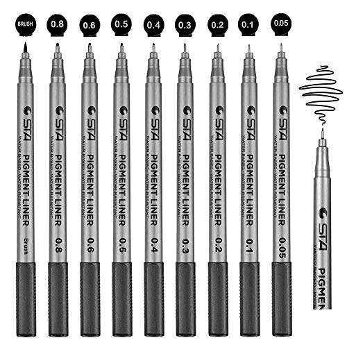 9 Fineliner Stifte, Wasserdicht Pigment Liner Set Schwarz 8 Linienbreiten und 1 Brush zum Skizzieren, Künstler Artist Illustration, Technische Zeichnung, dokumentenecht lichtecht superfein
