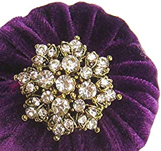 Nakpunar Golden Sewing Pin Cushion with Rhinestone Decoration