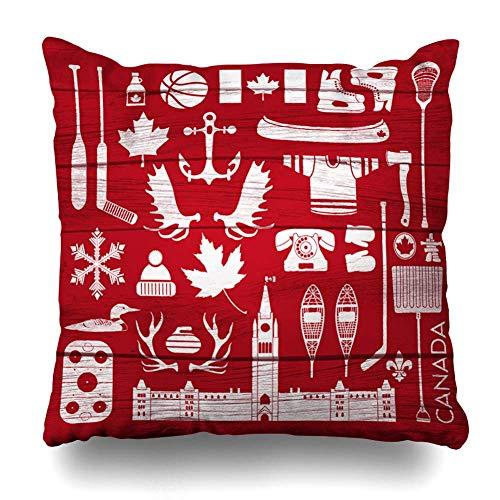 JL85hao Throw Pillow Cover Jersey Canada Enorme estereotipo Canadiense en Canoa Jarabe de Arce Parlamento Envejecido Tablero de Anclaje Funda de Almohada Decorativa 18x18 Pulgadas