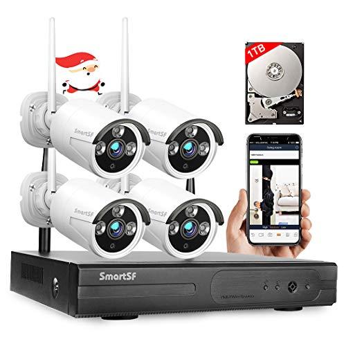 Anni 4CH 720P HD Cámara de vigilancia CCTV de Seguridad inalámbrica, Kit WiFi NVR y 4 cámaras IP de 1,0 MP megapíxeles inalámbricas para Interiores y Exteriores, P2P