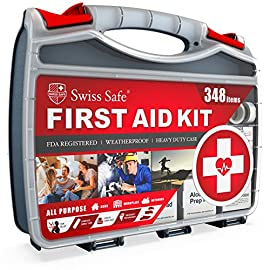 2-in-1 First Aid Kit (348-Piece) 'Double-Sided Hardcase' + BONUS 32-Piece Mini Kit: Perfect for Home & Workplace Safety [50 Person Kit] 8 HEAVY DUTY HARD CASE: Built to Last in Toughest Workplace Environments & Weather Conditions MORE ITEMS & DOUBLE CAPACITY: 348 Items Organized into 20 Quick-Access Interior Compartments BONUS MINI-FIRST AID KIT: Travel Size, Portable, Nylon Mini-Kit comes with 32 Emergency Items