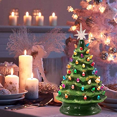 Mr. Christmas Nostalgic Cake Tree, Colorful Light Luminous Ceramic Christmas Tree, Waterproof Reusable Retro Ceramic Tabletop Christmas Tree for Fireplace Kitchen Home Decor (Green)