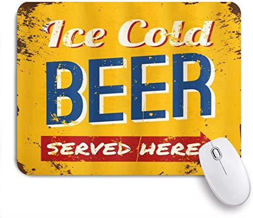 Gedruckte Maus PadMan Cave Vintage Abgenutzte rostige Zeichen Design eiskaltes Bier, dekorative Mousepad für Game Players Office, Schreibtisch Dekor