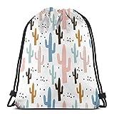 Mochila con cordón para Cactus y Texturas pintadas a Mano para Mujer Bolsa de Lona con cordón para Saco de Gimnasia Ligero para Viajes Deportivos 36 x 43 cm / 14.2 x 16.9 Pulgadas