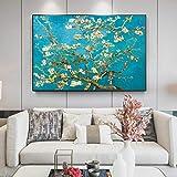 Rumlly Van Gogh Fleur d'amandier peintures sur Toile Fleurs impressionnistes Affiches d'art Mural et Impressions Toile Photo décor à la Maison 70x100 cm sans Cadre