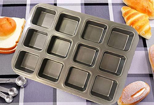 meleg otthon Mini-Muffinform Backblech für Muffins,Antihaft Muffinblech Antihaftbeschichtet Backblech Backform für süße und herzhafte Rezepte (Quadrat-12 Muffins)