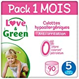 Love & Green Case Pack Couche Culottes Taille 5 (11-25 Kg) - Pack 1 Mois (90 Couches)