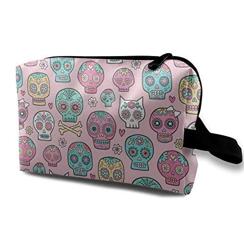 XCNGG Mädchen Make-up Taschen Künstler Aufbewahrungstasche Kulturbeutel Multifunktions-Kosmetiktasche Zuckerschädel auf Pink