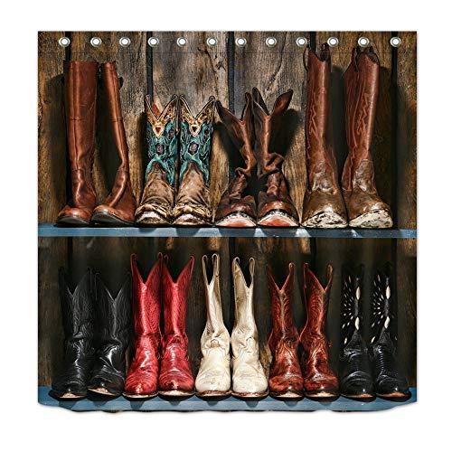 ZZZdz verschillende soorten cowboylaarzen. Douchegordijn. 180 x 180 cm. 12 vrije haken. Huisdecoratie. 3D Hd-druk. Eenvoudig te reinigen. Badkameraccessoires.