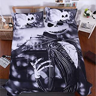 Nightmare Before Christmas 3-Piece Duvet Cover, Microfiber Duvet Cover Set,Ultra Soft and Easy Care, Simple Style Bedding Set (King(264x228CM))