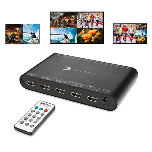 gofanco Prophecy 1080p Quad Multi-Viewer 4x1 HDMI Switcher with Seamless Switch, Split Screen, 5 Display Modes, Audio Extractor to Stereo, IR Remote/Software/Push Button Selector (PRO-QuadView)