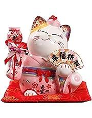 Money Bank 8 inch Ceramic Maneki Neko Ornament Lucky Cat Money Box Japanese Couple Fortune Cat Feng Shui Wedding Gift Centerpiece Cash Box