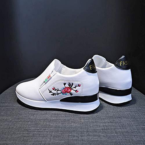Un Pie Dentro De La Altura De Los Zapatos Deportivos Colegial Zapatos De Red Bordados Pequeña Chica De Zapatos Blancos 39 Cuero blanco (ciruela)