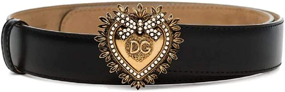 Dolce & gabbana,cintura per donna,in vera pelle,con maxi fibbia dorata decorata da piccole perline BE1315AK86180999