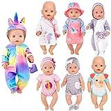 ebuddy 7 Sätze Puppenkleidungszubehör für 43 cm / 17 Zoll Neugeborene Babypuppen umfassen Strampler im Cartoon-Stil, Kleid, Nachthemd und Hut