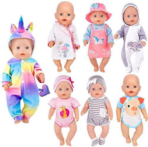ebuddy 7 juegos de ropa de muñeca para recién nacidos de 43 cm, incluye pelele de dibujos animados, vestido, camisón y sombrero.
