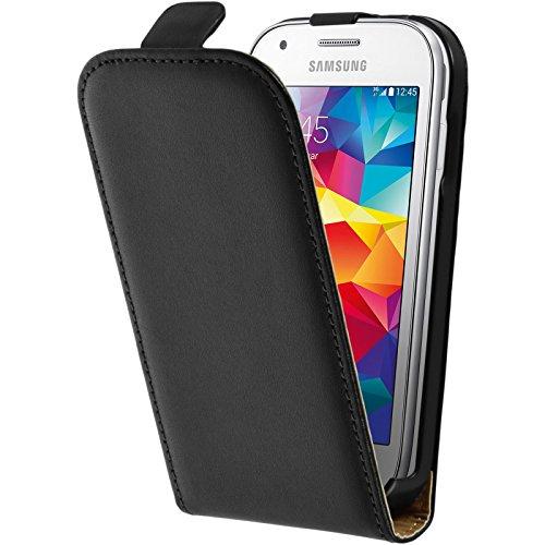 PhoneNatic Kunst-Lederhülle kompatibel mit Samsung Galaxy Ace Style - Flip-Hülle schwarz + 2 Schutzfolien