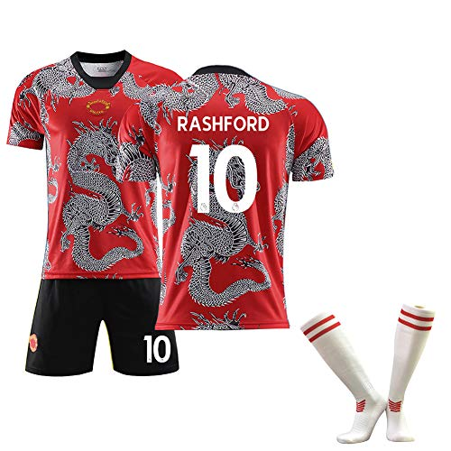 FUNBN para Pogba 6 Rashford 10 para Lingard 14 Sánchez 7,Ropa de fútbol para Hombres, se Puede Limpiar repetidamente, Regalo de fútbol, Trajes de Entrenamiento de chándal de fútbol-10#-M(170~175c